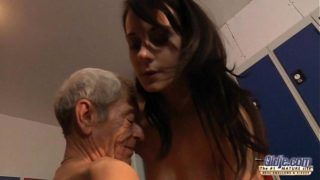 Young Teen Is So Kinky That Fucks An Old Fart In A Locker Place
